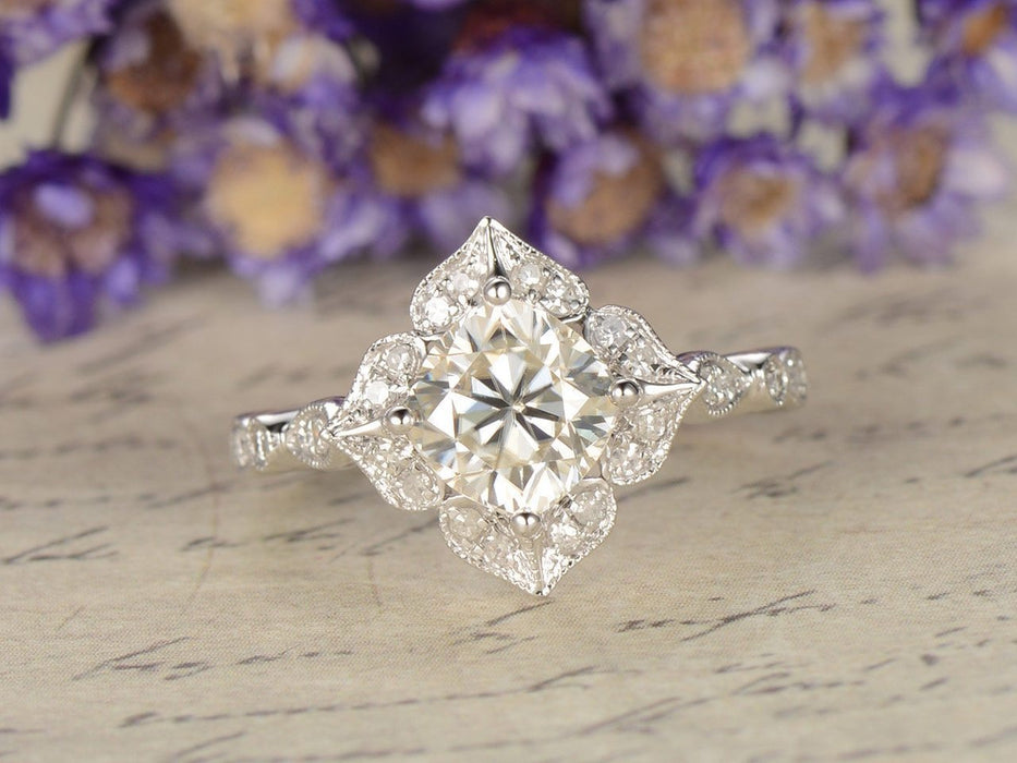 1.25 Carat Cushion Cut Moissanite and Diamond Antique Engagement Ring in White Gold