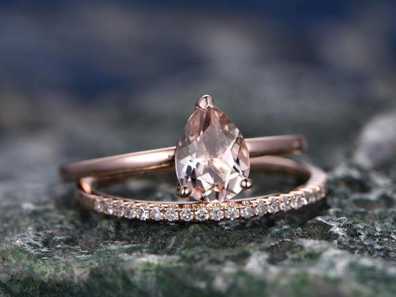 1.50 Carat Pear Cut Morganite and Diamond Wedding Ring Set in Rose Gold