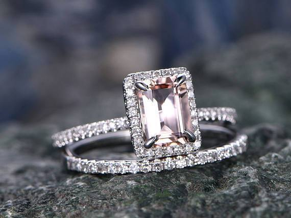 2 Carat Emerald Cut Morganite and Diamond Halo Wedding Bridal Set in White Gold