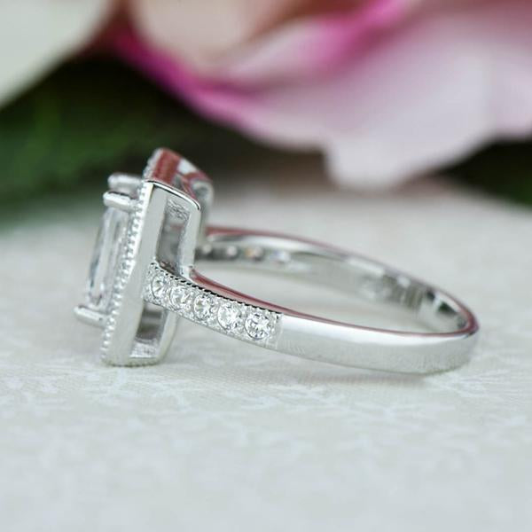 Final Sale 1.5 Carat Emerald Cut Radiant Halo Gatsby Engagement Ring in White Gold over Sterling Silver