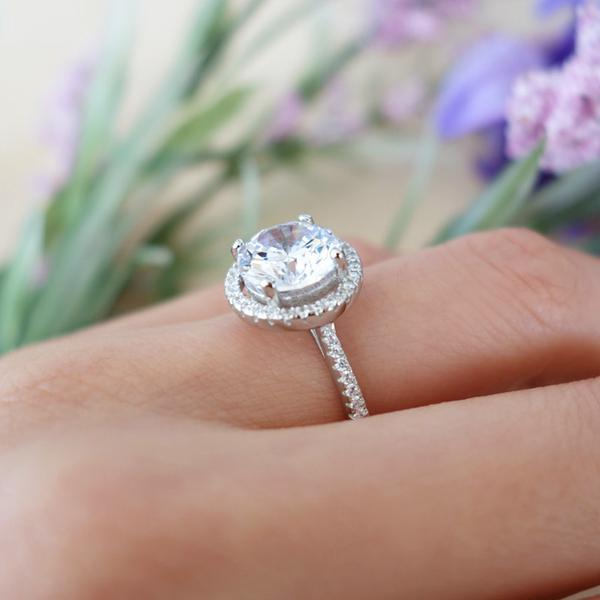Classic 3.5 Carat Round Cut Classic Halo Engagement Ring in White Gold over Sterling Silver