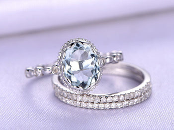 2.50 Carat Oval Cut Aquamarine and Diamond Halo Trio Wedding Ring Set in White Gold