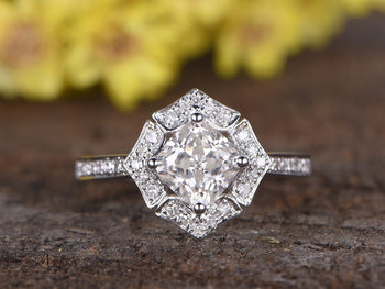 Antique Art Deco 1.25 Moissanite and Diamond Wedding Ring in White Gold