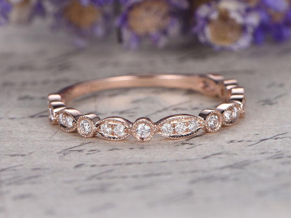 Bestselling Artdeco 0.25 Carat Round Cut Diamond Wedding Ring Band for Women in Rose Gold