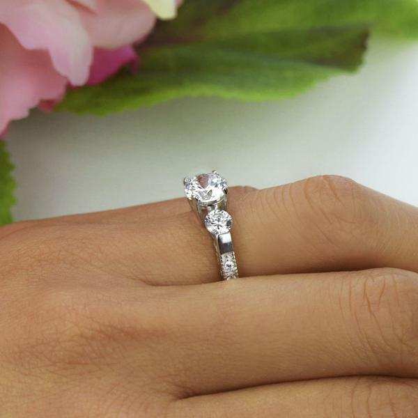 Three Stones 2 Carat Round Cut Filigree Engagement Ring in White Gold over Sterling Silver