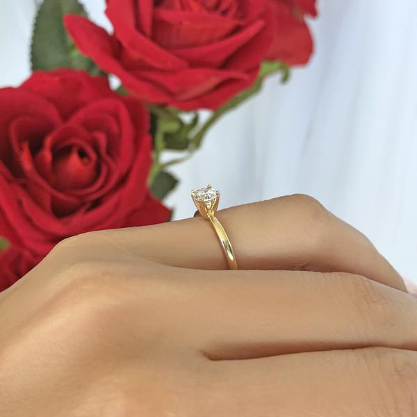 0.5 Carat Round Cut Solitaire Engagement Ring in Yellow Gold over Sterling Silver