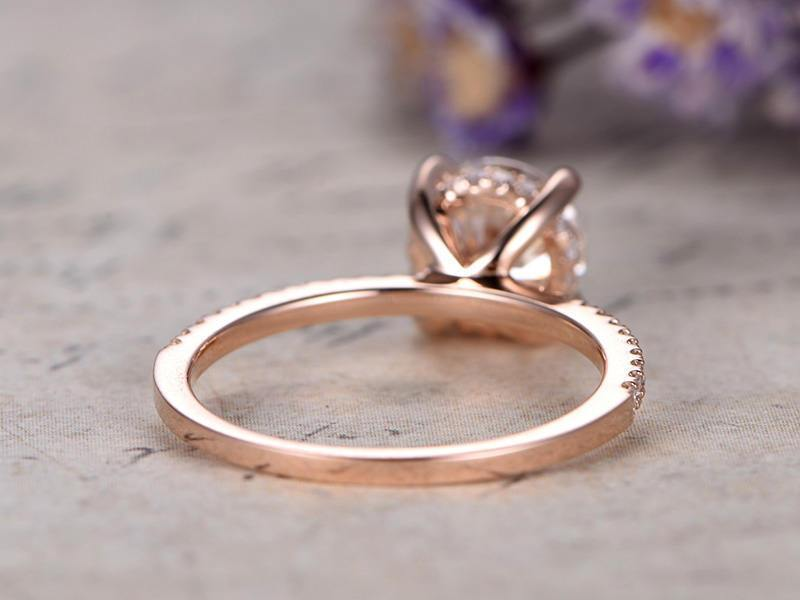 Sale 1.25 Carat Round Cut Moissanite and Diamond Wedding Ring in Rose Gold