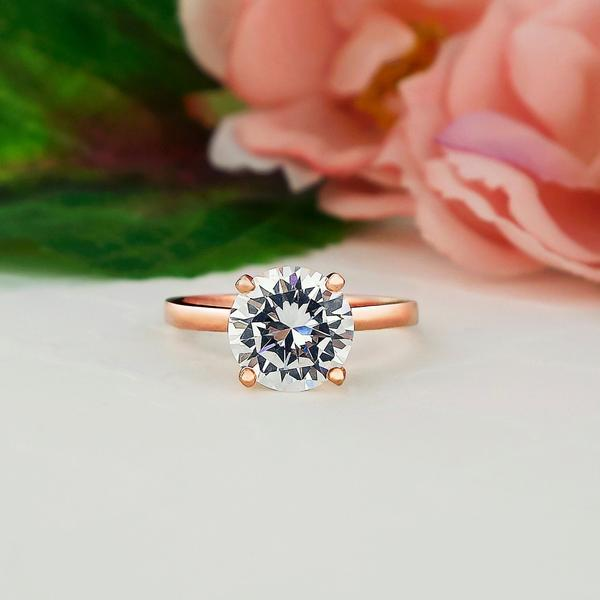 Four Prongs 2 Carat Round Classic Solitaire Engagement Ring in Rose Gold over Sterling Silver