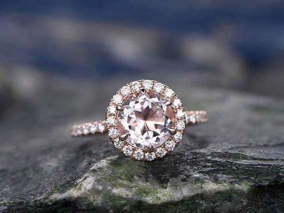 1.50 Carat Round Cut Morganite and Diamond Halo Engagement Ring in 9k Rose Gold