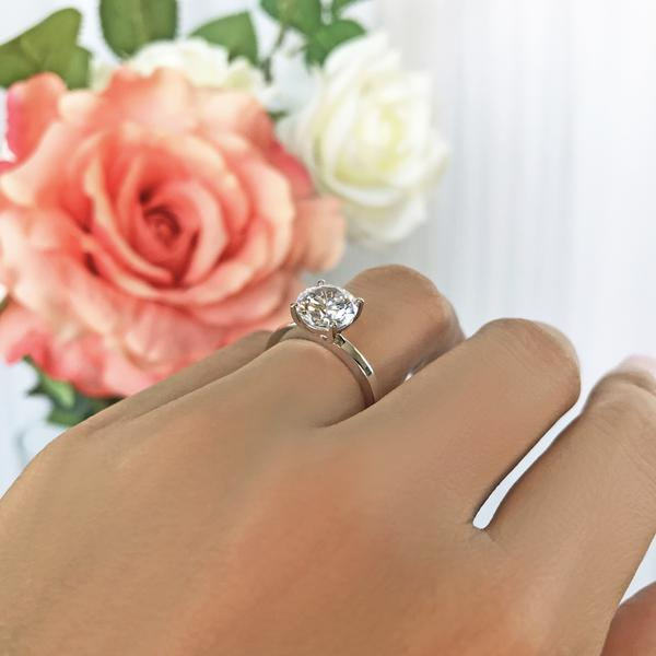 Four Prongs 2 Carat Round Cut Classic Solitaire Engagement Ring in White Gold over Sterling Silver