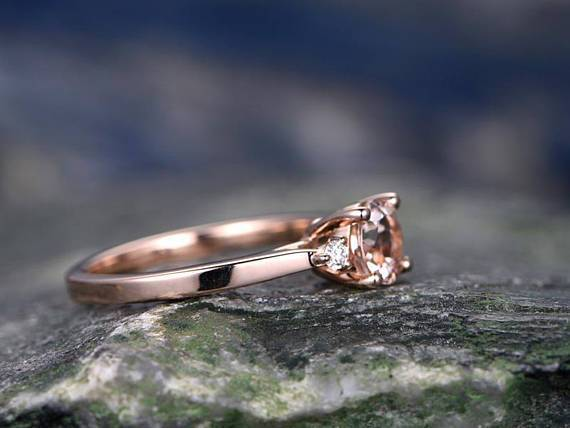 Three Stone 1.25 Carat Round Cut Morganite and Diamond Engagement Ring in Rose Gold