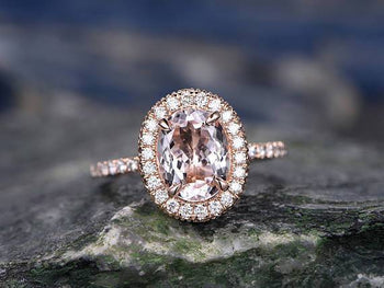 Huge 3 Carat Oval Cut Morganite and Diamond Engagement Ring in Rose Gold