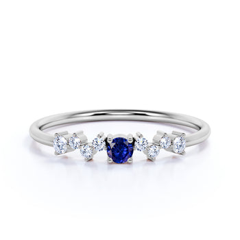 Exquisite Sapphire and Diamond Stacking Wedding Ring Band in White Gold