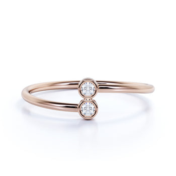 Slick Bezel Set Round Diamond Stacking Ring in Rose Gold