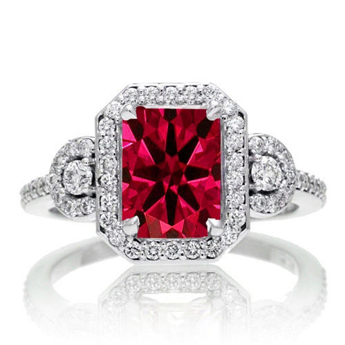 2 Carat Emerald Cut Ruby and White Diamond Halo Engagement Ring