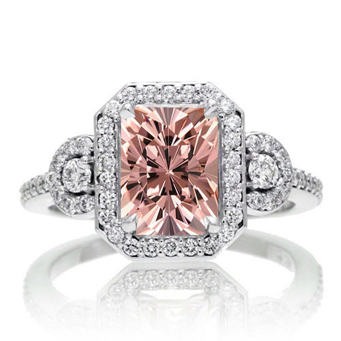 2 Carat Emerald Cut Morganite and Diamond Engagement Ring in White Gold