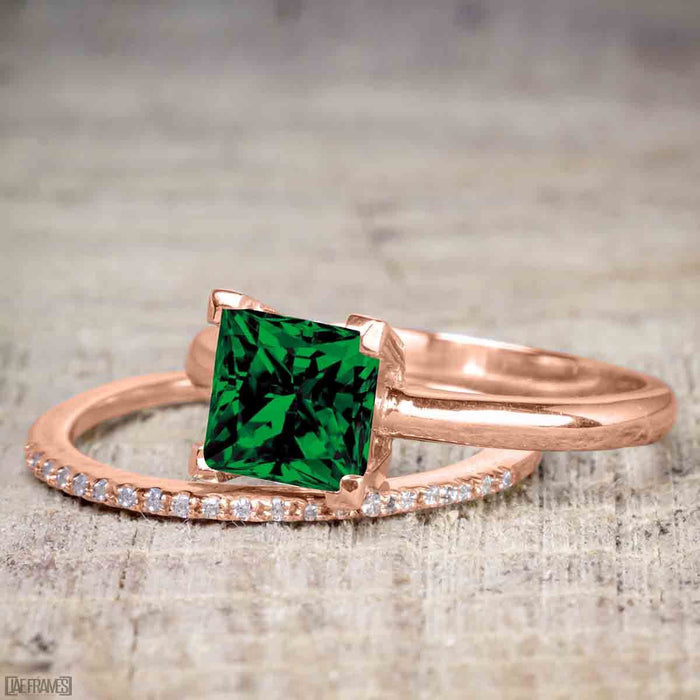 Perfect 1.25 Carat Princess cut Emerald and Diamond Bridal Ring Set in Rose Gold