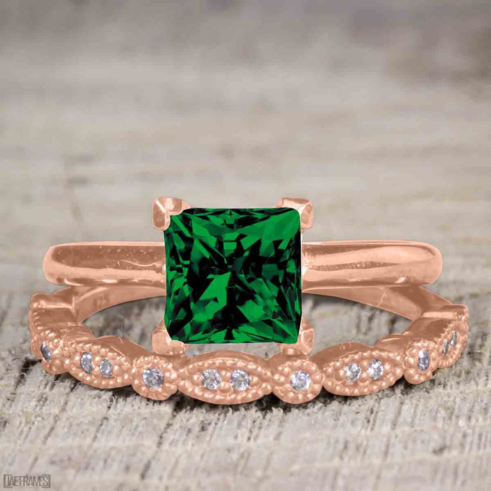 Antique Artdeco 1.25 Princess cut Emerald and Diamond Wedding Bridal Set in Rose Gold