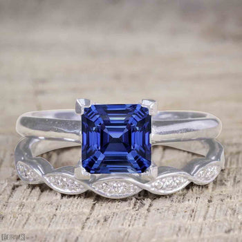 Vintage design 1.25 Carat Princess Cut Sapphire and Diamond Wedding Ring Set for Women in White Gold