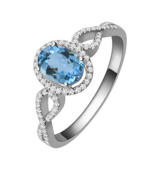 1.50 Carat oval cut Aquamarine and Diamond Infinity Engagement Ring in White Gold