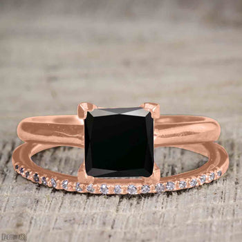 Unique 1.25 Carat Princess Cut Black Diamond Bridal Ring Set with Semi Eternity Band in Rose Gold
