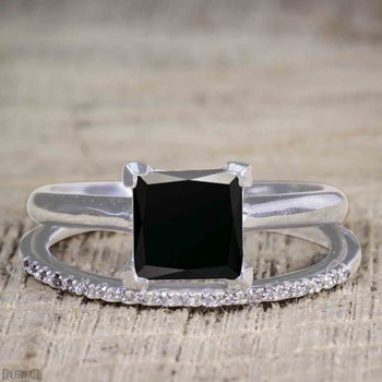 Unique 1.25 Carat Princess Cut Black Diamond Bridal Ring Set with Semi Eternity Band in White Gold