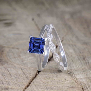 Beautiful 1.25 Carat Princess Cut Sapphire Solitaire Bridal Ring Set for Women in White Gold
