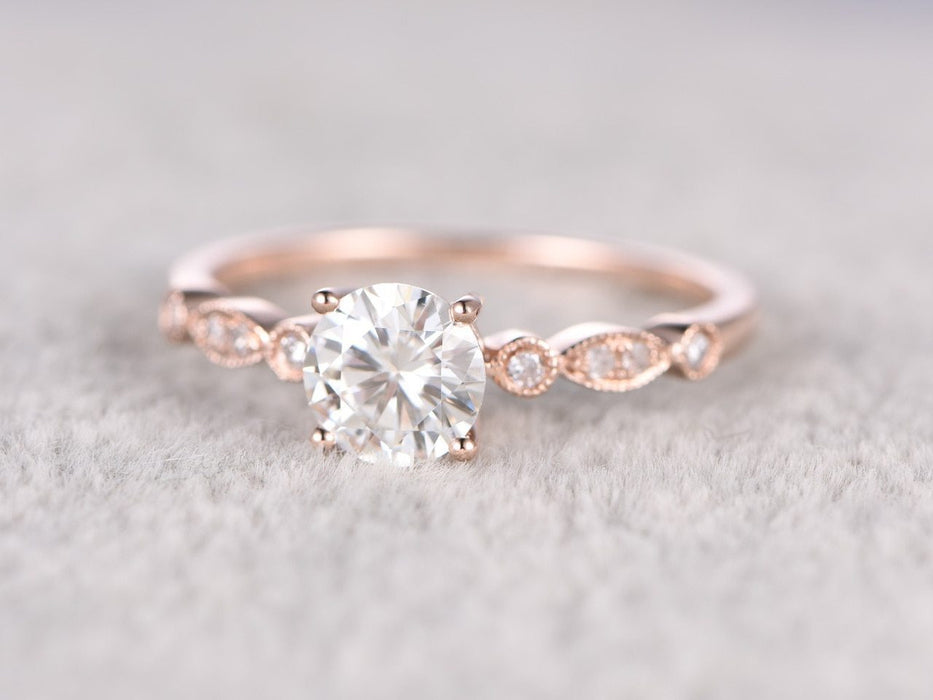 1.25 Carat Round Cut Moissanite and Diamond Antique Engagement Ring in 9k Rose Gold