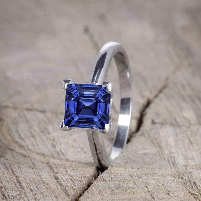 1.50 Carat Princess Cut Sapphire and Diamond Trio Wedding Ring Set for Women in White Gold