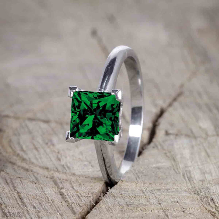 Unique 1.25 Carat Princess cut Emerald and Diamond Bridal Set with semi eternity band in White Gold