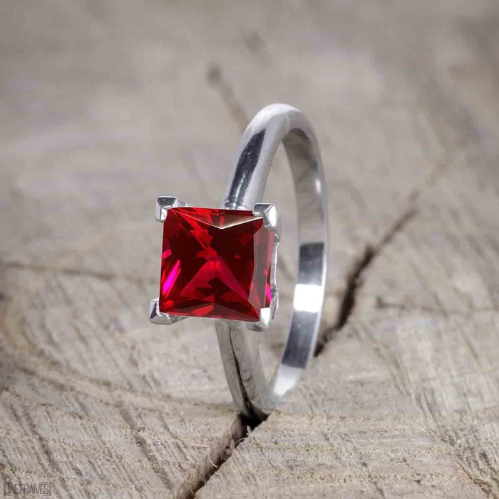 1.50 Carat Princess cut Ruby and Diamond Trio Wedding Ring Set for Women in White Gold