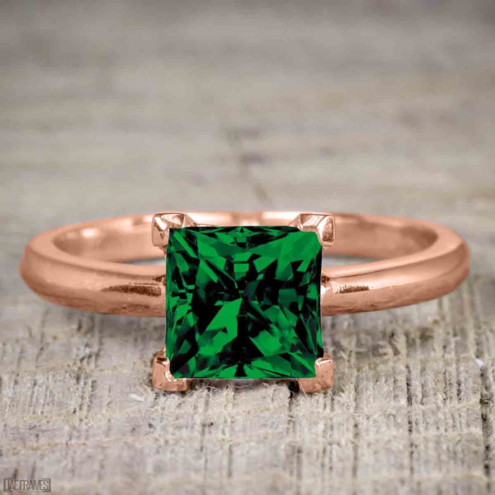 Bestselling 1.50 Carat Princess cut Emerald and Diamond Trio Wedding Ring Set in Rose Gold