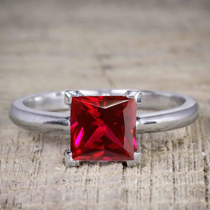 1.25 Carat Princess cut Ruby and Diamond Wedding Ring Set in White Gold