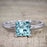 1.50 Carat Princess Cut Aquamarine and Diamond Solitaire Trio Wedding Bridal Ring Set in White Gold