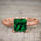 1.25 Carat Princess cut Emerald and Diamond Wedding Ring Set in Rose Gold