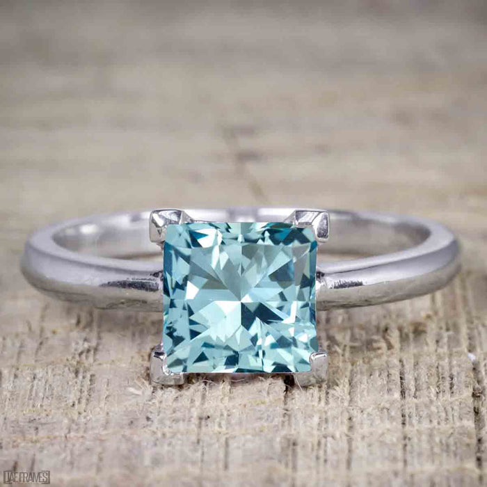 1 Carat Princess Cut Aquamarine Solitaire Engagement Ring in White Gold