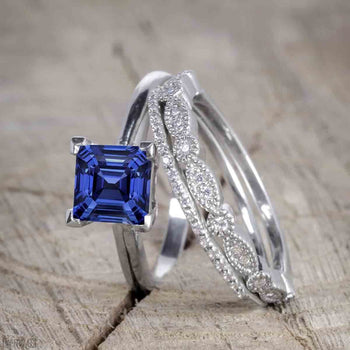 Unique 1.50 Carat Princess Cut Sapphire and Diamond Trio Wedding Ring Set in White Gold