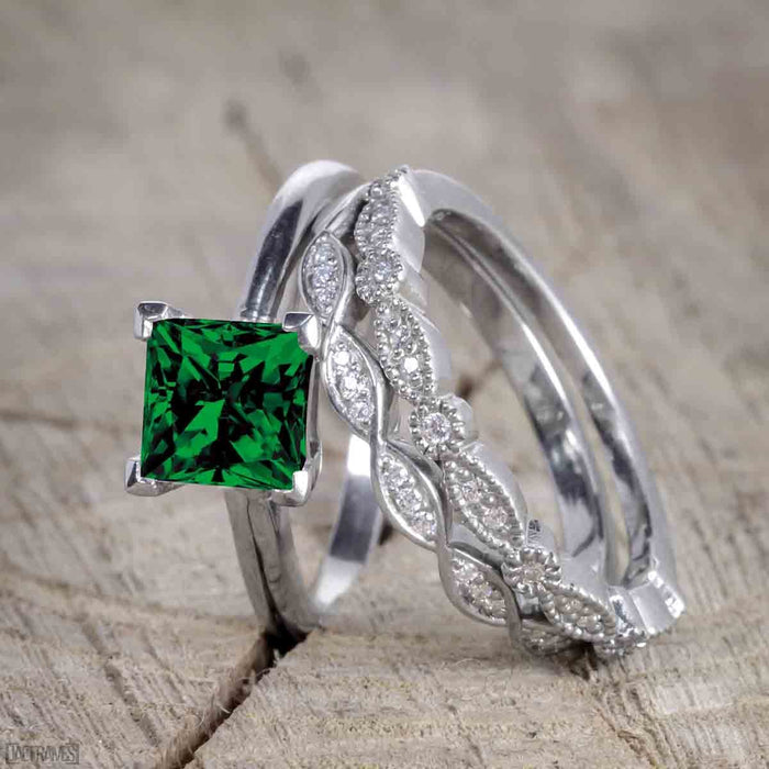 Bestselling 1.50 Carat Princess cut Wedding Ring Set with Emerald and Diamond for Women in White Gold