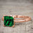 Artdeco 1.25 Carat Princess cut Emerald and Diamond Wedding Bridal Ring Set in Rose Gold