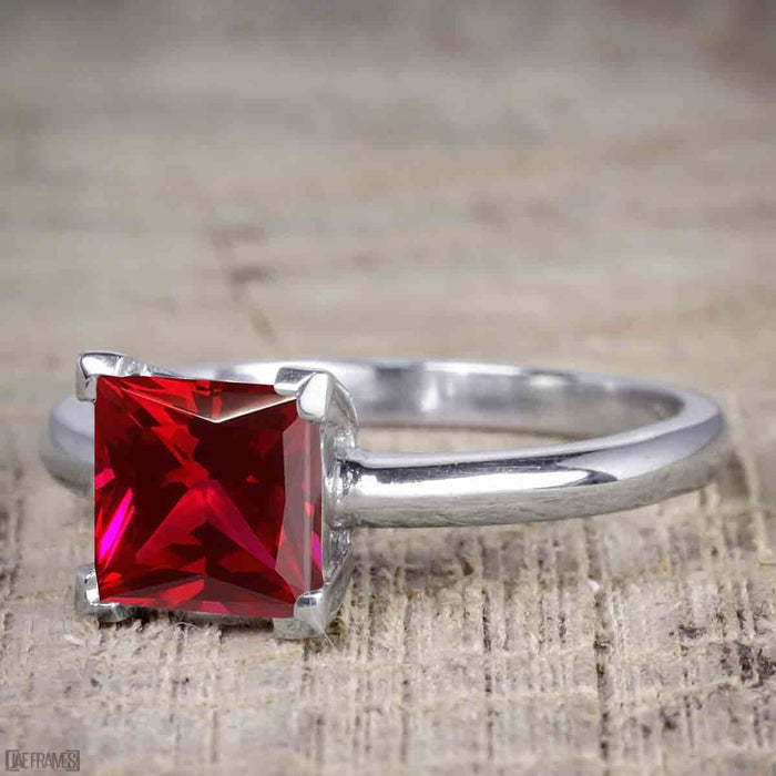 1.50 Carat Princess cut Ruby and Diamond Solitaire Trio Wedding Bridal Ring Set in White Gold