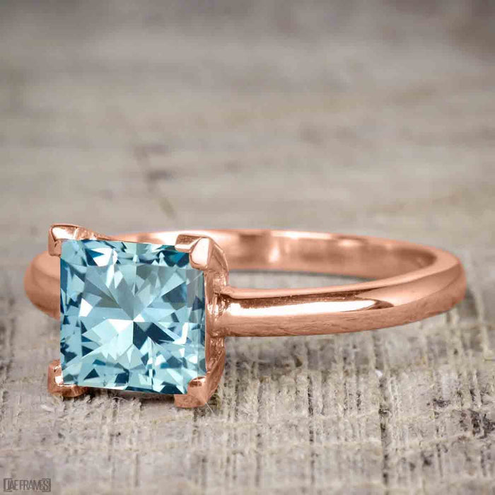 Perfect 1.25 Carat Princess Cut Aquamarine and Diamond Bridal Ring Set in Rose Gold