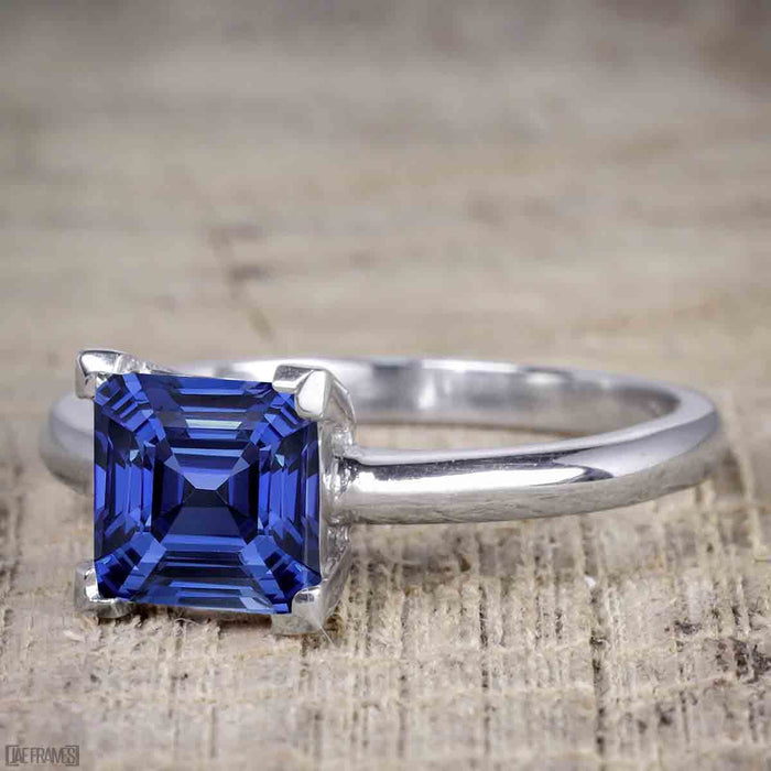 1.25 Carat Princess Cut Sapphire and Diamond Wedding Ring Set in White Gold