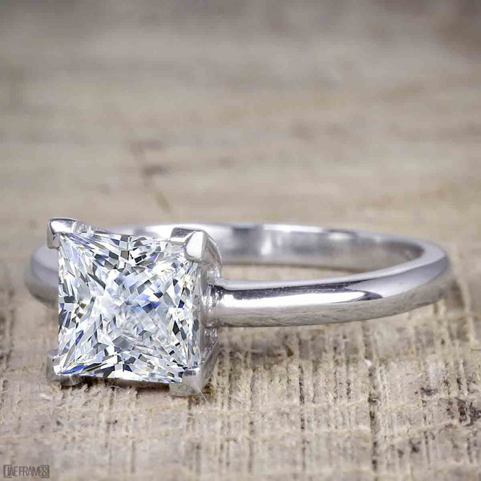 1 Carat Princess Cut Moissanite Solitaire Engagement Ring in White Gold