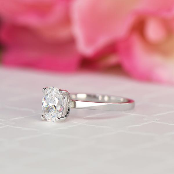 Classic 1.2 Carat Oval Cut Solitaire Engagement Ring in White Gold over Sterling Silver
