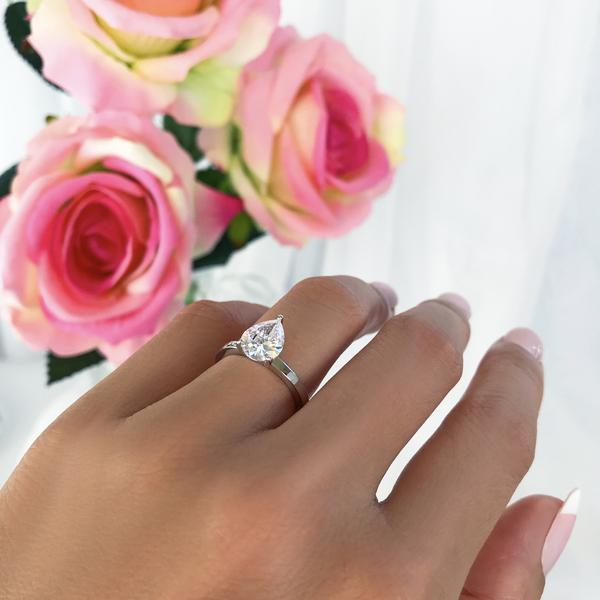 2 Carat Pear Cut Solitaire Engagement Ring in White Gold over Sterling Silver