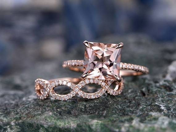 2 Carat Princess Cut Solitaire Morganite and Diamond Wedding Ring Set in Rose Gold