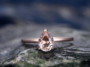 Solitaire 1 Carat Pear Cut Morganite Engagement Ring in Rose Gold