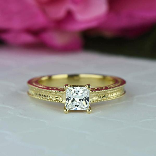 1 Carat Princess Cut Engraved Engagement Ring in Yellow Gold over Sterling Silver