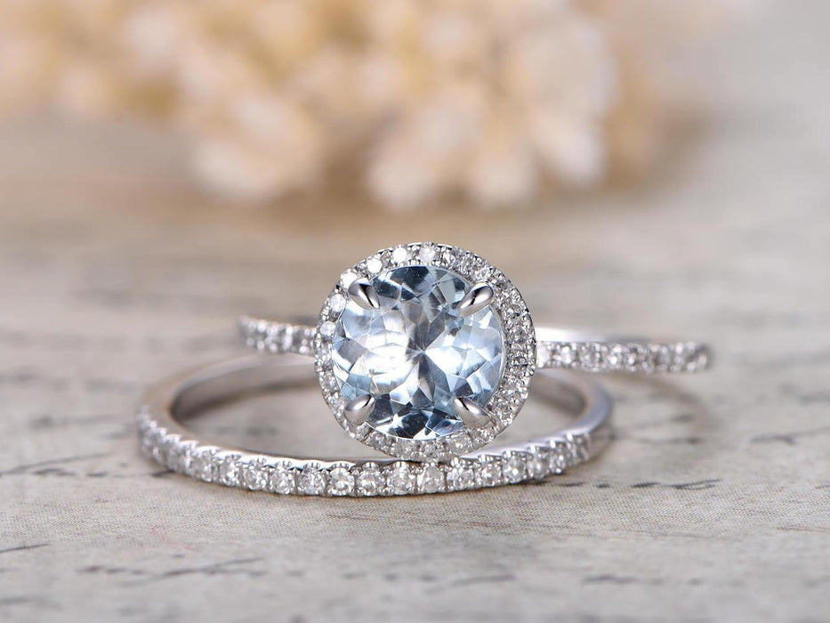 Antique 2 Carat Round cut Aquamarine and Diamond Wedding Set in White Gold