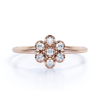 Flower Shaped Dainty Stackable Ring with Round Cut Diamonds in Rose Gold